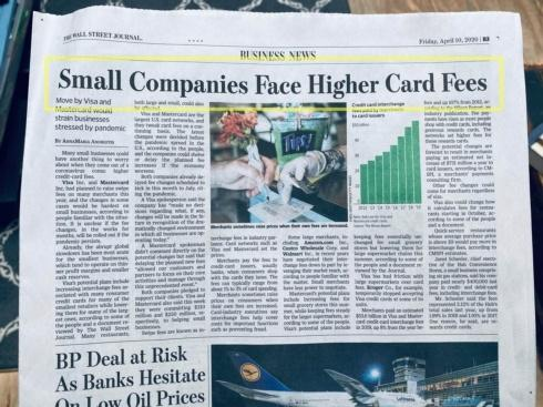 Wall St. Journal: Smaller Companies Face Higher Card Fees