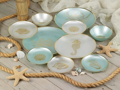 New From La Villa Collections  Sea Life  glass dinnerware with motifs of seahorse crab u0026 shells in white or turquoise with golden embellishments and a ... & New From La Villa Collections
