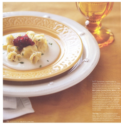 What a beautiful Tuscan-themed tablescape featuring our Berry & Thread White dinner plate and Colette Amber footed goblet, featured in Weddings by the Ritz-Carlton.