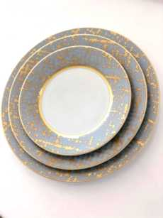 Royal Limoges Recamier - TWEED GREY&GOLD Dinner Plate