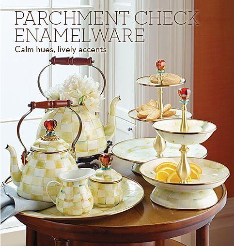 Parchment Check Enamelware collection with 5 products