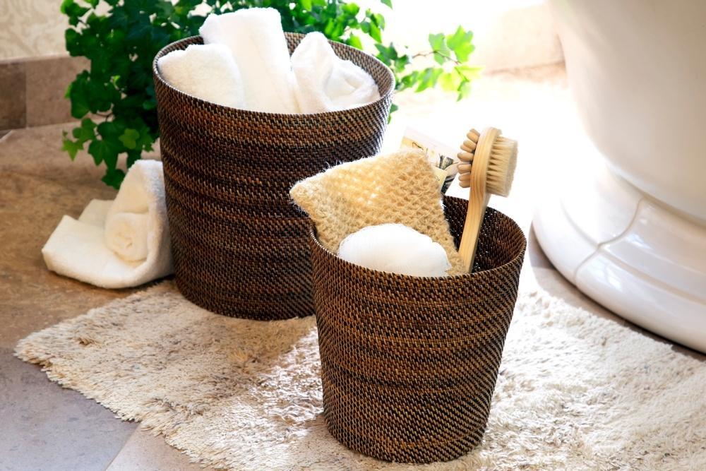 Lifestyle image 1 for Handwoven Waste Basket & Hamper
