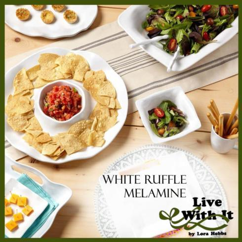 Ruffle White Melamine Dinnerware and Serveware collection with 26 products