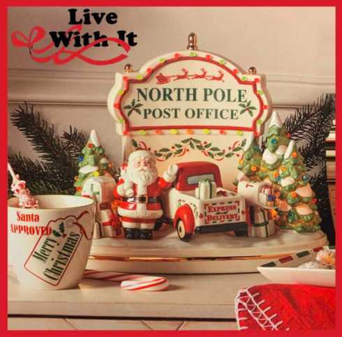 $170.00 Santa\'s Post Office Lit Musical Centerpiece