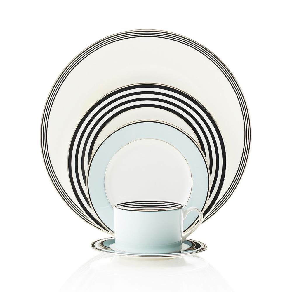 Graphic and modern Parker Place dinnerware creates instant ambiance with rings of platinum black and pale blue. Variation from piece to piece adds a ...  sc 1 st  Live With It by Lora Hobbs & Kate Spade ~ Parker Place ~ 5 Piece Place Setting Price $139.00 in ...