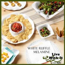 Ruffle White Melamine Dinnerware and Serveware collection