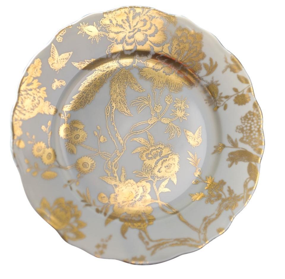 Deshoulieres jardin secret grey gold accent plate for Jardin secret wine