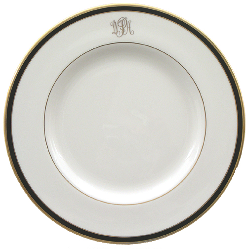 $75.00 Pickard White Black \u0026 Gold Monogrammed Dinner Plate  sc 1 st  Bailey\u0027s Fine Jewelry - Bridge & Pickard Monogram ~ Black ~ Pickard White Black \u0026 Gold Monogrammed ...