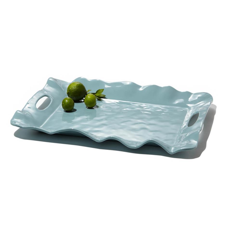 Havana rect tray w/handles aqua