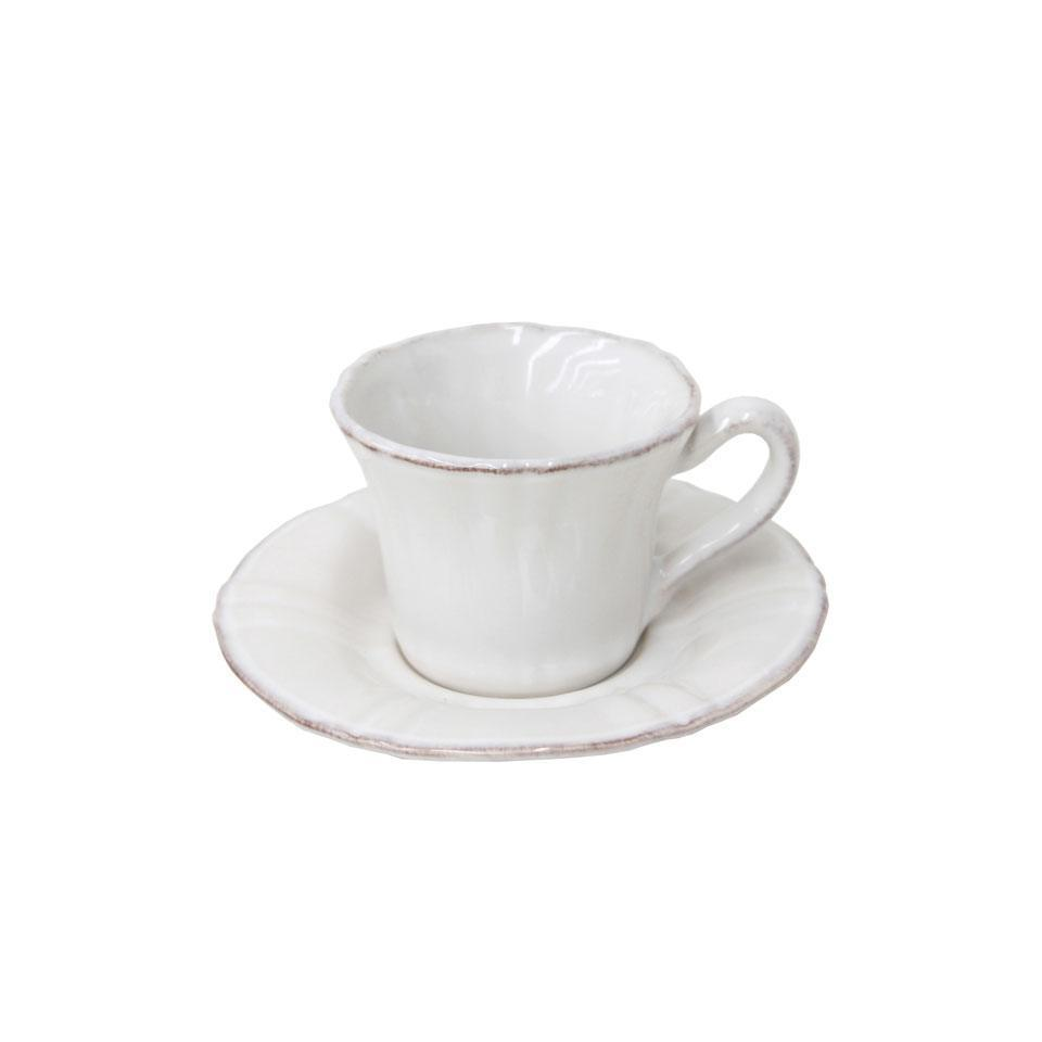 Village - White Coffee Cup and Saucer