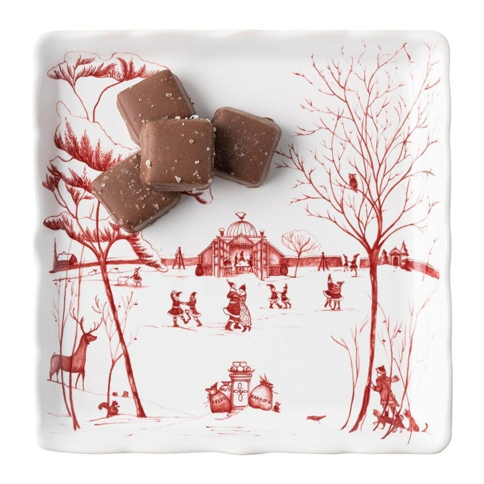 """Winter Frolic """"Mr. & Mrs. Claus"""" Ruby Sweets Tray"""