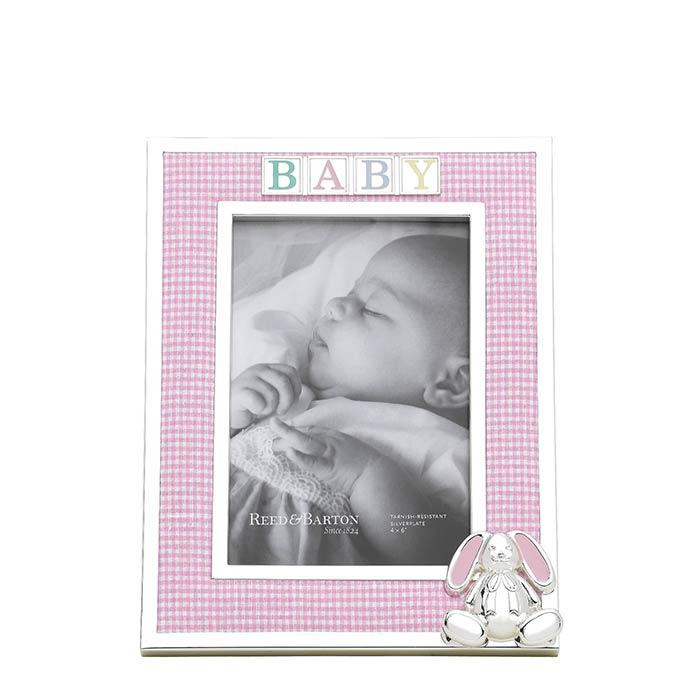 Reed Barton Picture Frames Albums Gingham Bunny 4 X 6 Frame
