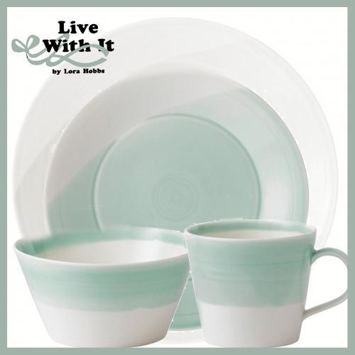 Sale $60.00 Royal Doulton 1815 White \u0026 Green 4 Piece Place Setting  sc 1 st  Live With It by Lora Hobbs & Sale: Custom Designed Place Settings ~ Royal Doulton 1815 White ...