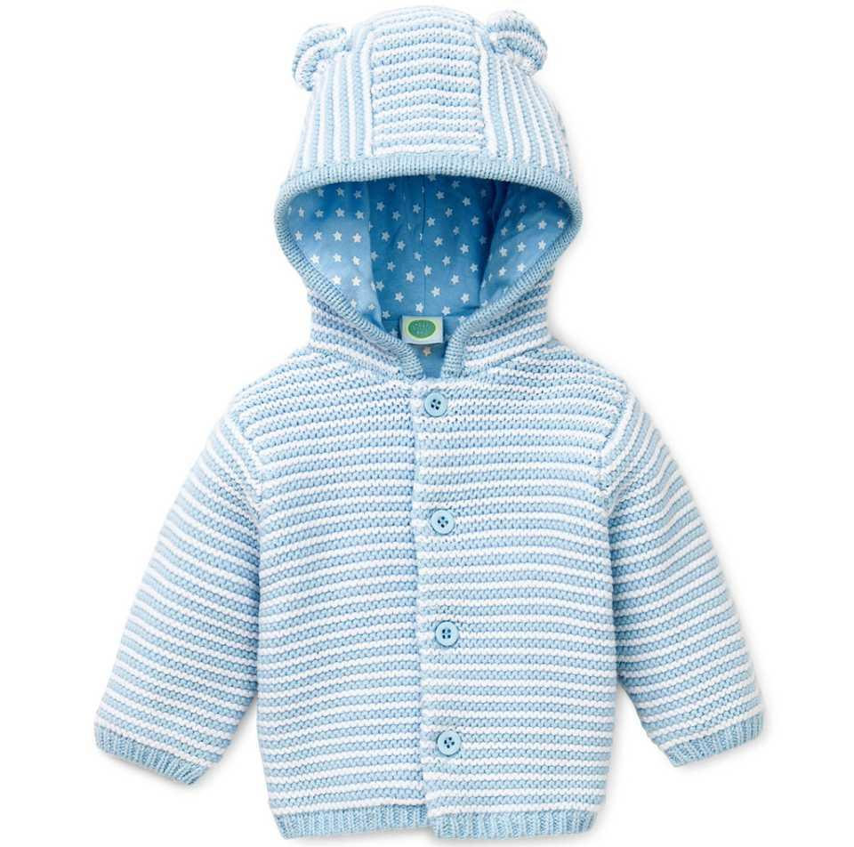 Little Me ~ Baby Boys ~ Blue Soft Textured Hooded Cardigan, 6 ...