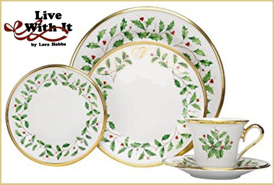 Sale $260.00 Holiday Custom Monogrammed  F   5-Piece Place Setting  sc 1 st  Live With It by Lora Hobbs & Sale: Holiday Monogram Dinnerware ~ Holiday Custom Monogrammed