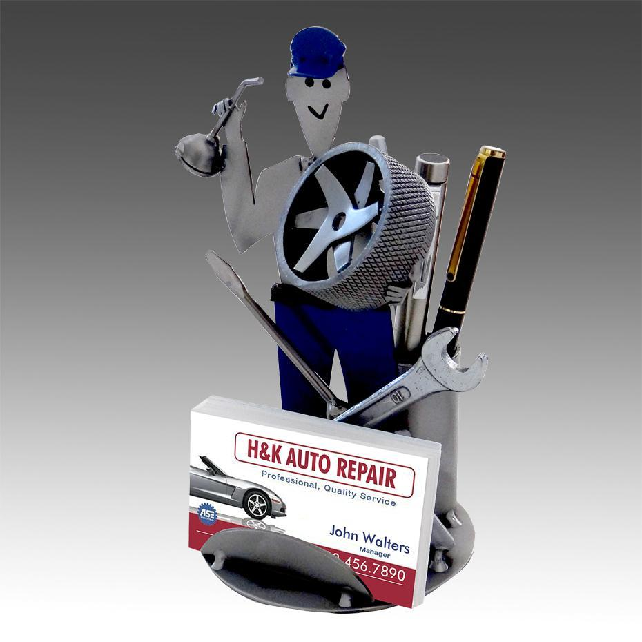 Steel sculpture business card and pen holders holders auto mechanic next auto mechanic business card holder colourmoves