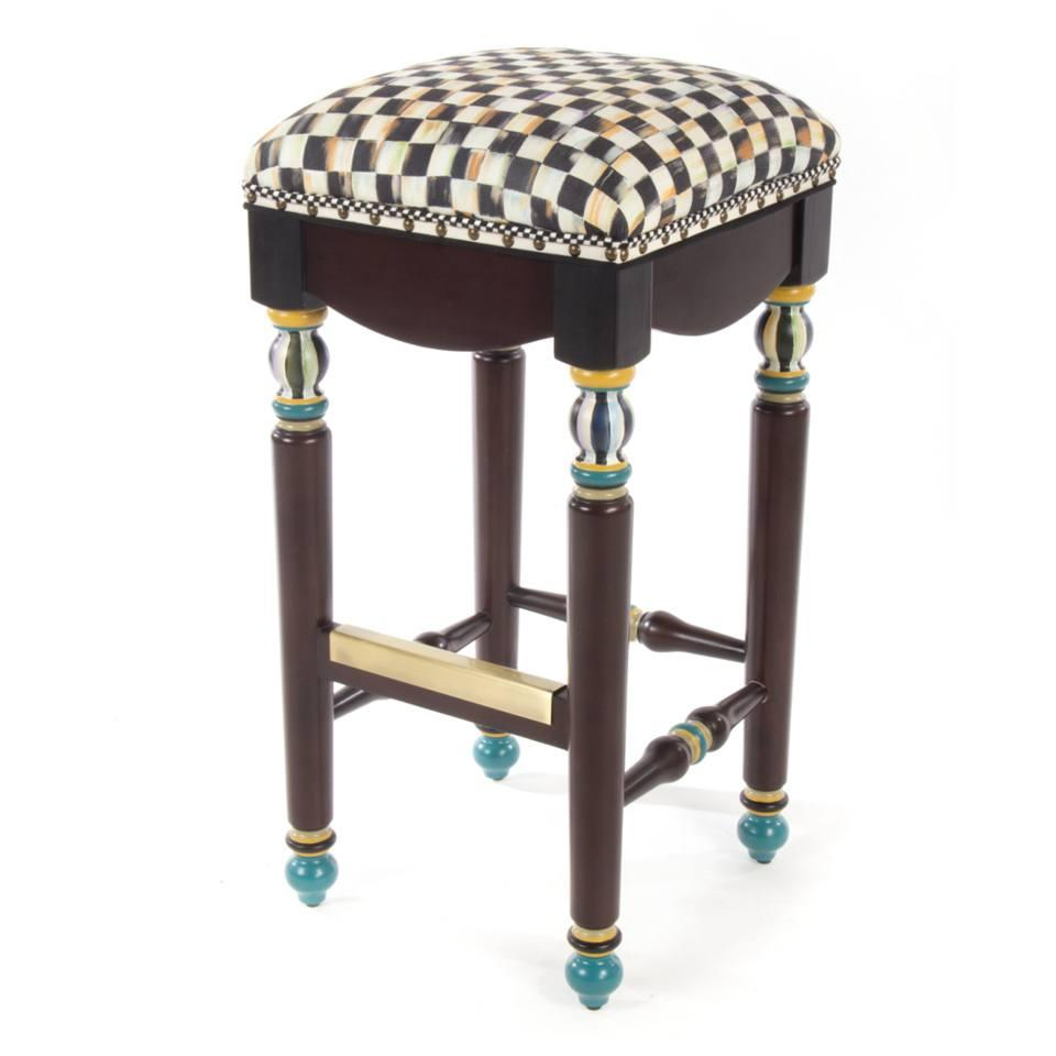 Astounding Mackenzie Childs Courtly Check Underpinnings Bar Stool Camellatalisay Diy Chair Ideas Camellatalisaycom