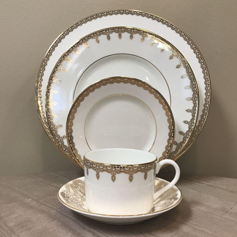 Waterford Lismore Lace Gold 5Pc Place Setting