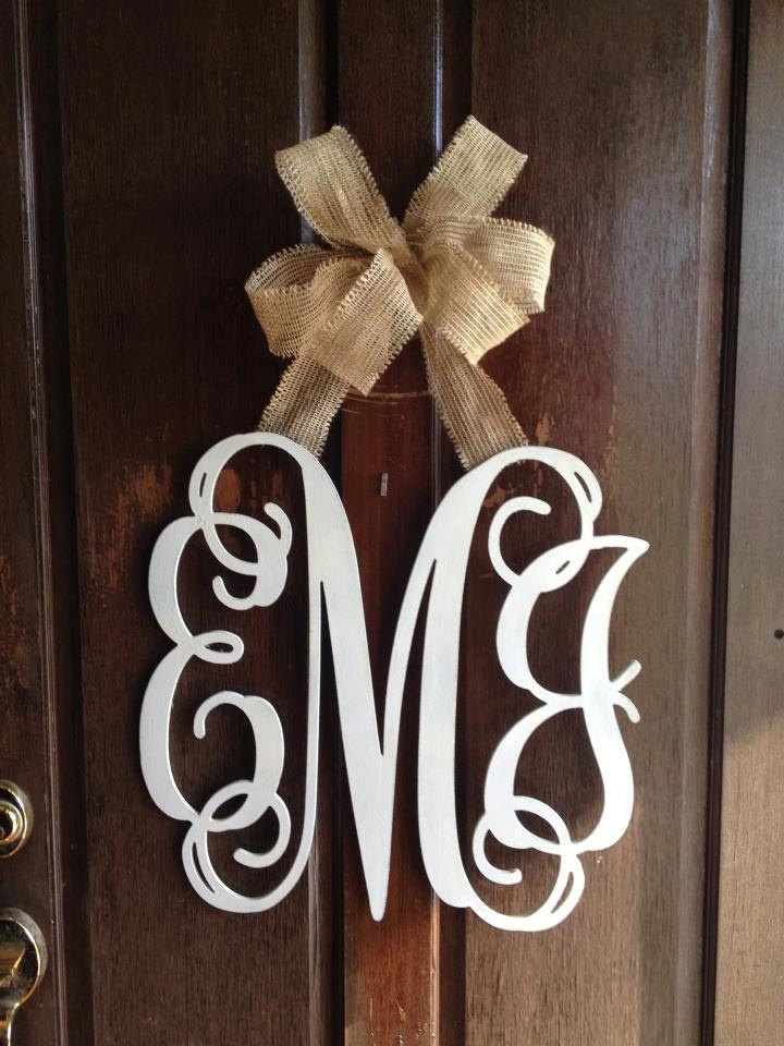 $48.00 Door Hanger - 3 Letter Monogram (wood or metal) & Plum Southern Exclusives ~ Decor ~ Door Hanger - 3 Letter Monogram ...