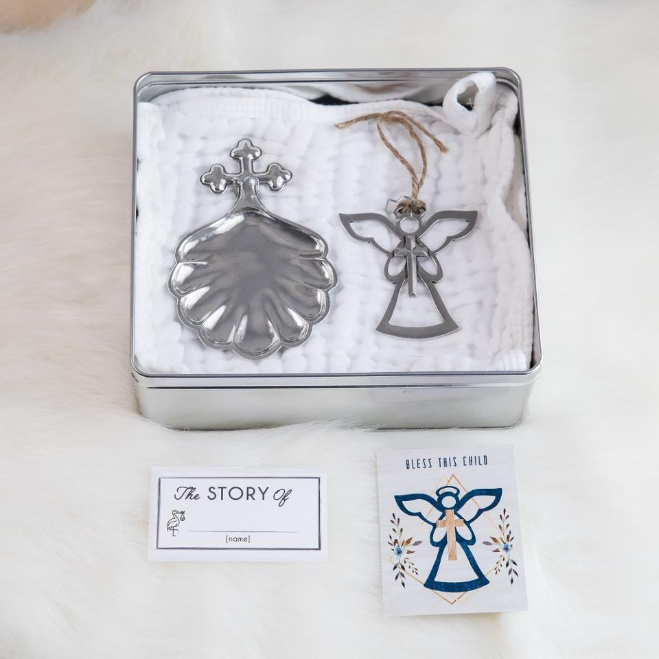 Baptismal Shell & Angel Ornament Gift Set