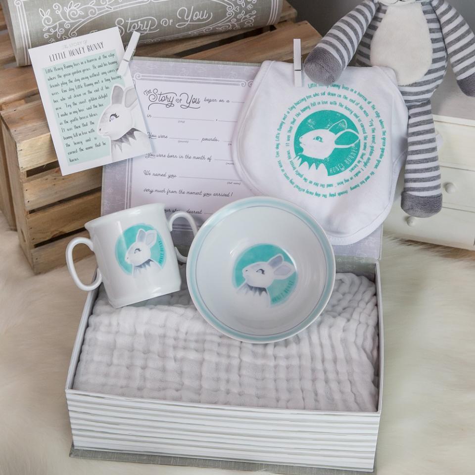 Little Honey Bunny Cup, Bowl, & Bib Set