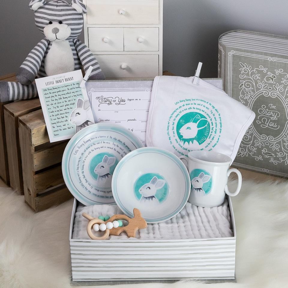 Little Honey Bunny Cup, Plate, Bowl, Bib, & Teether Set