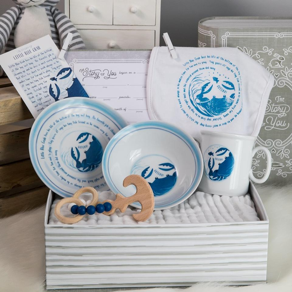Little Blue Crab Cup, Plate, Bowl, Bib, & Teether Set