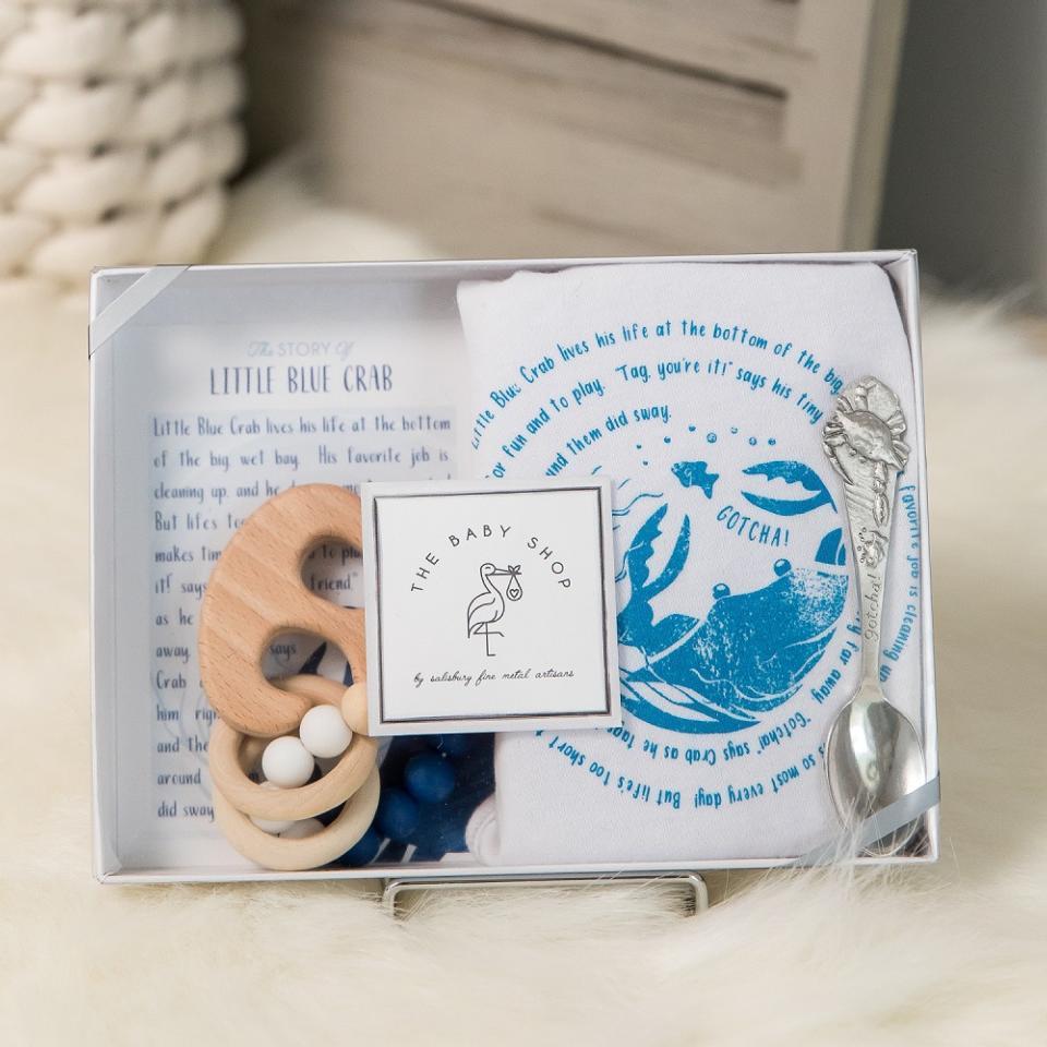 Little Blue Crab Spoon, Bib, & Teether Set