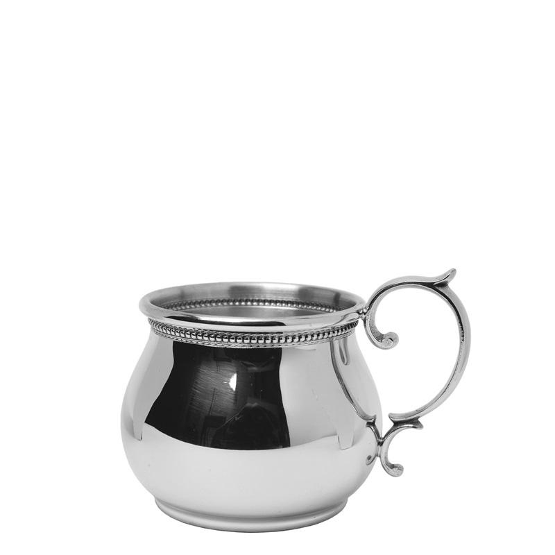 Bulged Baby Cup With Scroll Handle And Beading