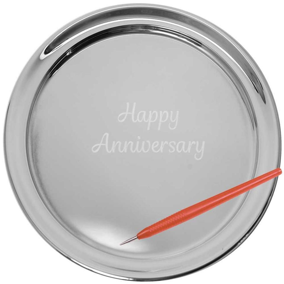 "13"" Gallery Tray & Engraving Pen - Happy Anniversary"