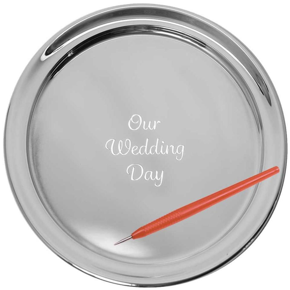 """13"""" Gallery Tray & Engraving Pen - Our Wedding Day"""