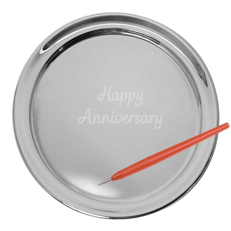 "11"" Gallery Tray & Engraving Pen - Happy Anniversary"