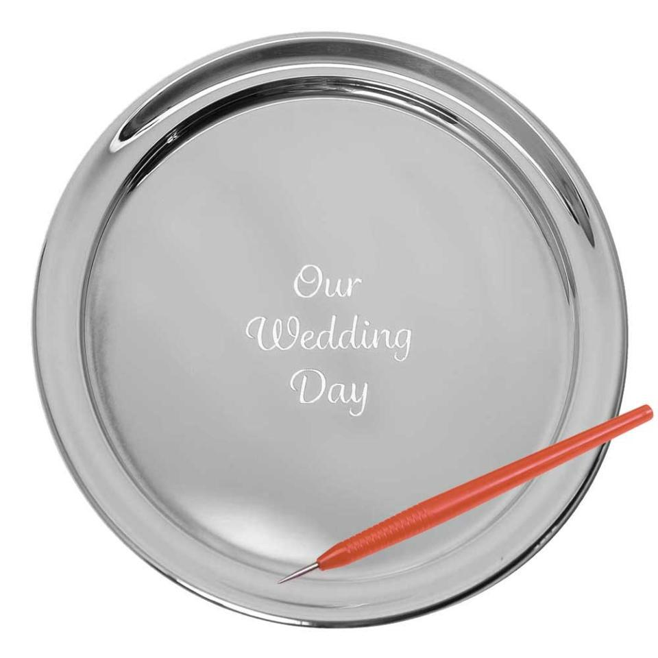 """11"""" Gallery Tray & Engraving Pen - Our Wedding Day"""