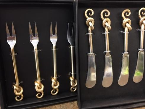 Saro Designs   Gold knot cocktail knives $32.00