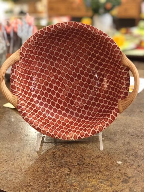 $100.00 9 in bowl w handles, poppy