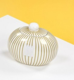 Happy Everything by Coton Colors  Happy Everything  Gold Striped Mini Cookie Jar $60.00
