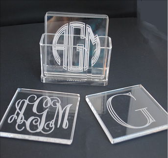 Tiger Lily  Ice Beverage monogram  Square Coasters $46.00