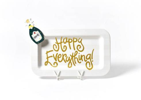 Happy Everything by Coton Colors  Happy Everything  White Stripe Mini Rectangle Platter With Champagne Mini Attachment  $80.00