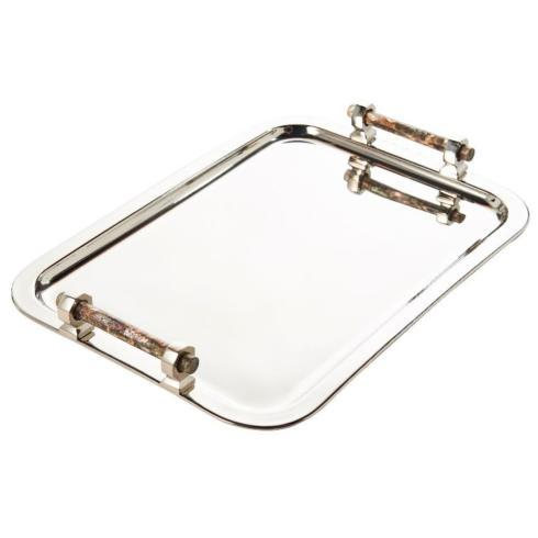 $324.00 Rectangle Tray with Pink Abalone Handles