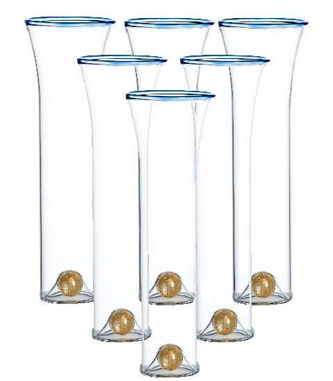 $106.00 Stemless Flutes, Blue Trim, Set Of 6
