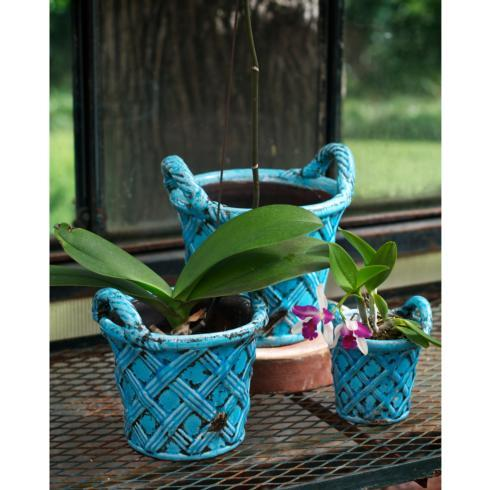 $70.00 Terracotta Basket Planter, Turquoise, Set Of 3