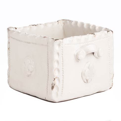 $158.00 Planter, Square White Scalloped Edge