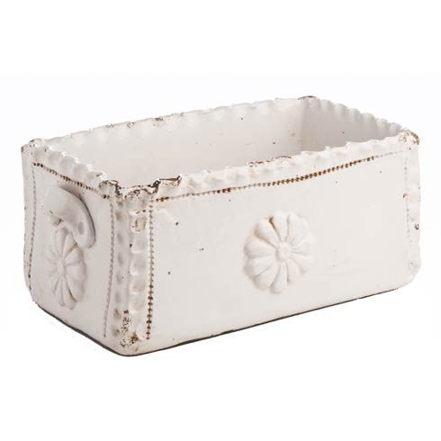 $238.00 Planter, Rectangle White Scalloped Edge