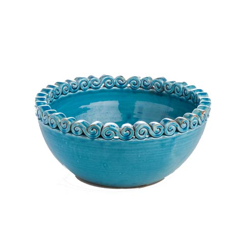 $118.00 Turquoise Bowl with Scroll Edges