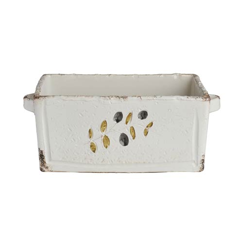 White Planter, Rectangle with Olives