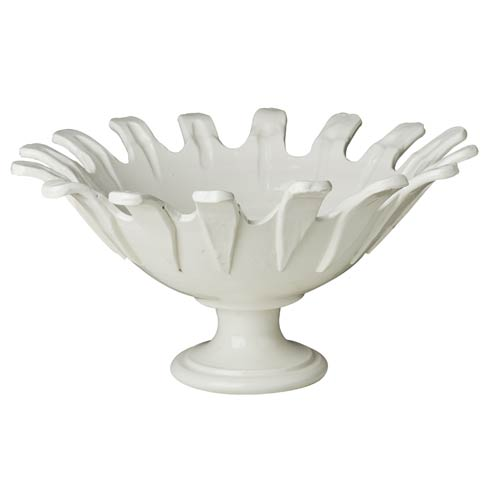 $324.00 Footed Bowl, White, Applied Petals