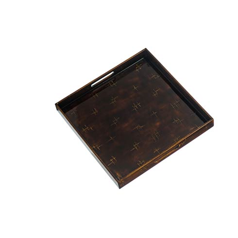 $72.00 Brown Lacquered Square Tray