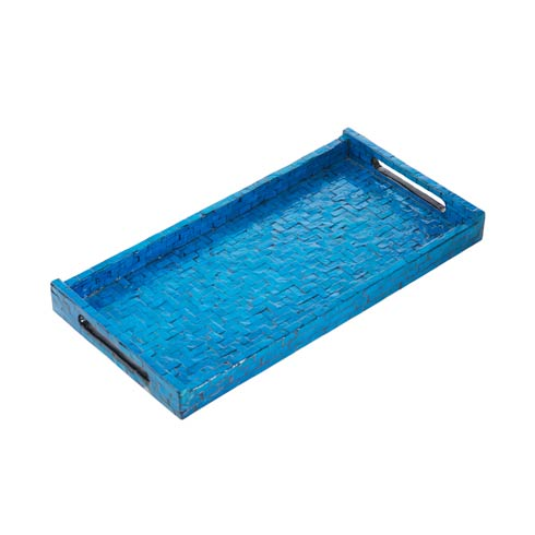 $70.00 Basket Weave Rectangle Tray, Blue
