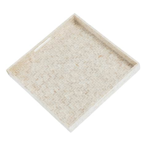 $84.00 Basket Weave Square Tray, Pearl