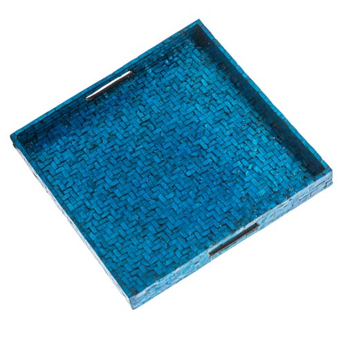 $79.00 Basket Weave Square Tray, Blue